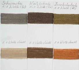 Farbmusterkarten Färbungen von Pflanzenfarben