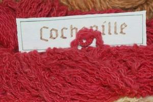 Cochenilleschildlaus, Dactylopius coccus, gefärbte Wolle