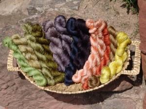 pflanzengefärbte Seide, Pflanzenfarben auf Seide