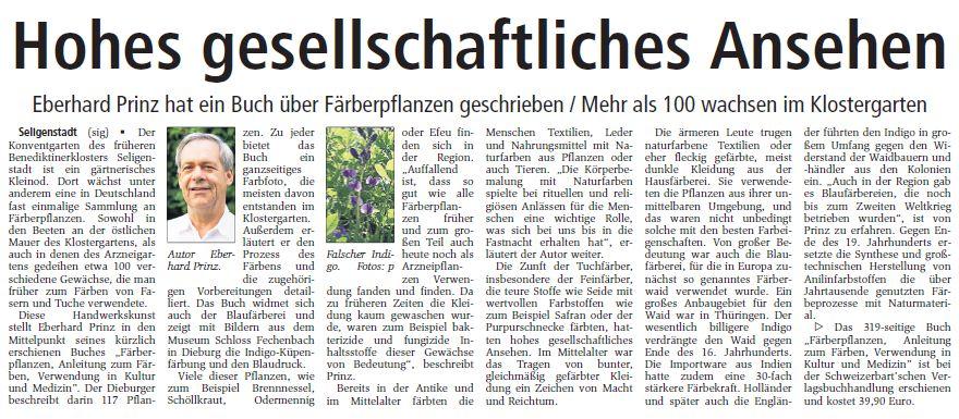 Färberpflanzen Klostergarten Seligenstadt, Offenbach-Post, 18.11.2009