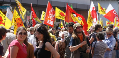 Friedliche Demonstation in Biblis von ca. 15.000 Teilnehmern für das Abschalten der Atomkraftwerke